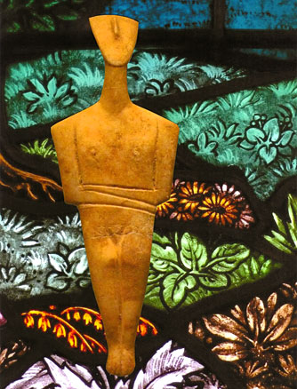 bronze-age female figurine on a landscape of stained-glass greenery