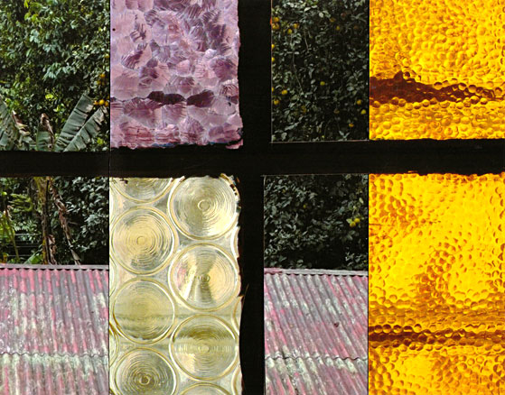 4 window panes: textured glass, 1 large, 2 small; 1 of wood
