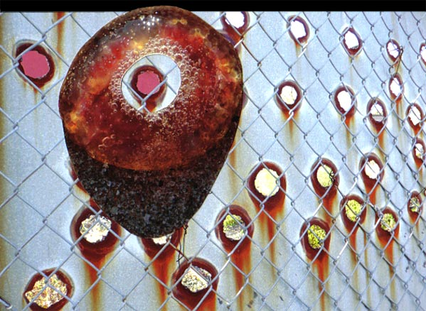 Red jelly fish with rusted fence