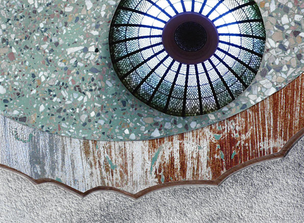 textured wall with stained-glass dome